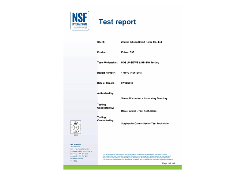 34 NSF TEST REPORT - 171072 - NSF1915